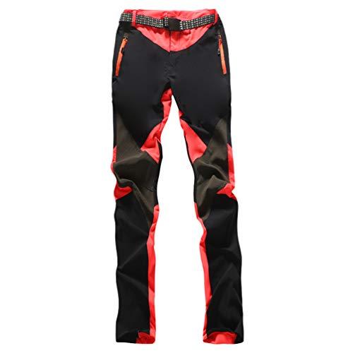 U/A Mujer Pantalones de Escalada con cinturón Pantalones de Trekking Softshell Pantalón de Acampada y Marcha (#2 Melon Rojo, M)