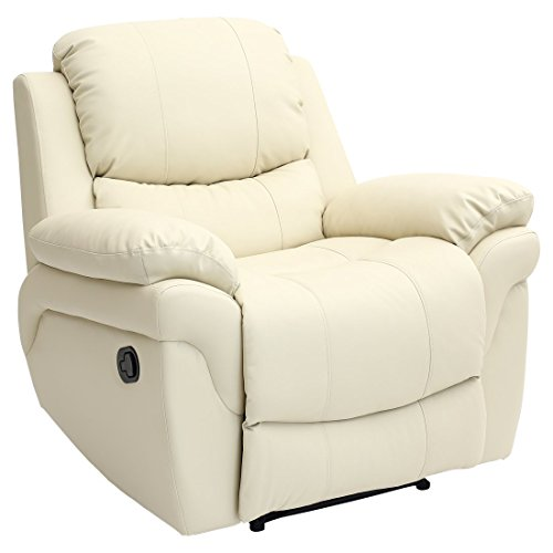 Madison Bonded Leather Recliner Armchair Sofa Home Lounge Chair Reclining Gaming (Cream)