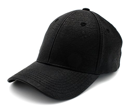 PU Leather Plain Adjustable Baseball Hats Snapback Closure, BLK