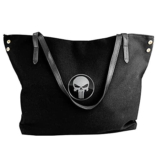 The Punisher'S Skull Unique Theme Canvas Borsa a tracolla da donna, borsa per la spesa, borsa per il tempo libero.