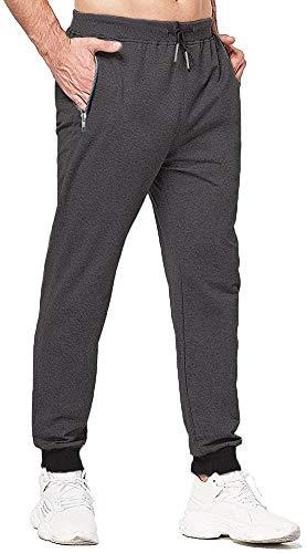 VZF Pantalon de jogging en coton pour homme Coupe slim - Gris - M