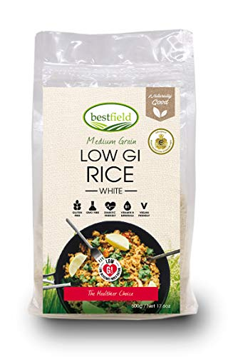White Rice - Medium Grain - Low Glycemic Index (GI) - Gluten Free - Cholesterol Free - GMO Free - Vegan - Essential - Pantry - Cooking - 17.6 oz (500 gr)