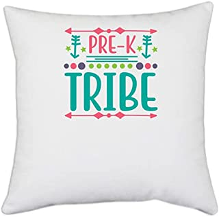 UDNAG White Polyester 'Student Teacher | Pre-k Tribe' Pillow Cover [16 Inch X 16 Inch]