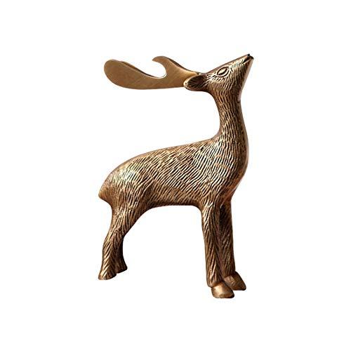 Oficina de la estatua de ciervos de latón Decoración de escritorio Sculpture Home Craft Ornament Feng Shui Estatua Decorativo Decorativo Domesa Sculpturas de regalo Colección