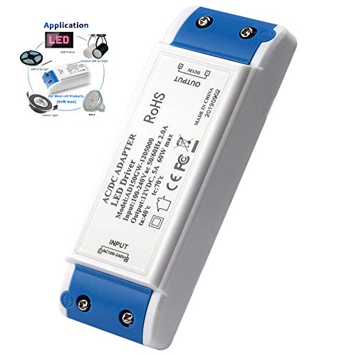 LED Trafo LED Transformator 1-60w, LED Netzteil 60W LED Treiberadapter 12V DC 5A - Konstante Spannung für LED-Lichtbänder, Schrankleuchten, LED-Anzeige und LED-Glühbirnen G4, MR11, MR16 (LED Treiber)