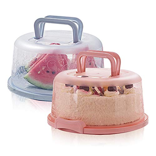 MHwan transportbox Kuchen, tortenglocke, Runde tragbare tragbare Tortenschachtel mit Deckel Tragegriff für den Transport von Kuchen, Keksen, Kuchen, Torte, Desserts, 2 Stück, 8 Zoll