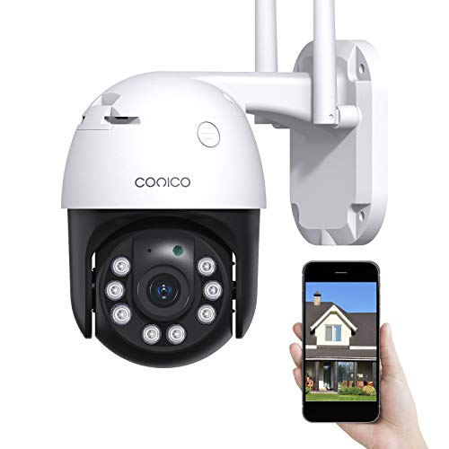 Security Camera Outdoor Conico 1080P WiFi Home Surveillance Camera with Pan/Tilt, Color Night Vision, 2-Way Audio, Motion Detection, IP66 Weatherproof with Alexa