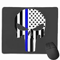 Ougther細いブルーラインユニセックスアダルトサンスナップバック野球帽を印刷するパニッシャーのロゴ マウスパッド 25×30 大判 ノンスリップ 防水 ゲーミング おしゃれ マウスの精密度を上がる