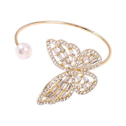 Un centenar de brazaletes huecos con incrustaciones de diamantes perla pulsera abierta se pueden ajustar