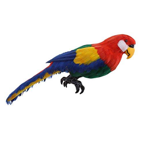 FLAMEER Adorno Loro Vivo Aves De Imitación Animal Jardín Al Aire Libre Césped Decoración del árbol - Rojo B