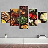 KOPASD Cuadro en Lienzo Vegetales Frescos 150x80cm Impresión de 5 Piezas Material Tejido no Tejido Impresión Artística Imagen Gráfica Decoracion