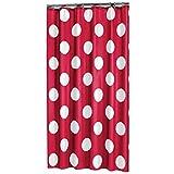 Sealskin Textil Duschvorhang Polka, Farbe: Rot, B x H: 180 x 200 cm
