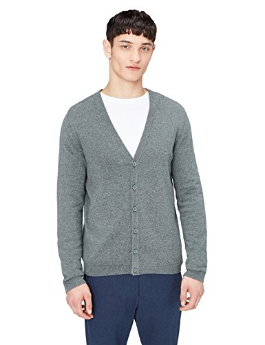 find. Men's Cotton Button Down Cardigan Sweater, Grey (Charcoal Marl), Large