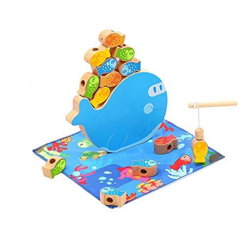 YYQIANG Juego de pesca para niños 4 en 1 Juguete de pesca magnética de madera Clasificación y apilamiento Fino Motor Habilidades Juguetes Educación Early Padre-Child Beading juego para niños y niñas p