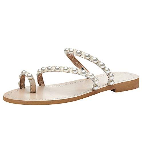 Jamron Damen Böhmen Perlen Zehenring Pantoffeln Sommer Flach Flip Flops Strandschuhe Aprikose SN02408-2 EU37