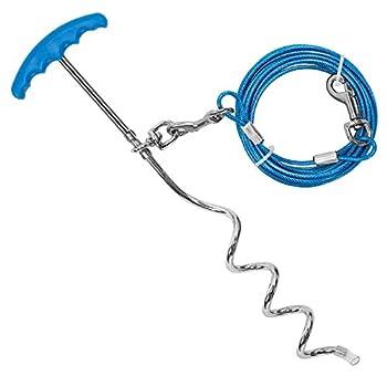 Petphabt Câble d'attache robuste pour chien avec piquet en spirale 40,6 cm 6 m