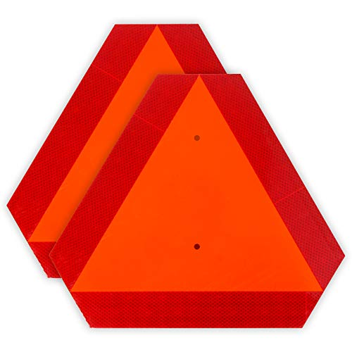 2-Pack Slow Moving Vehicle Triangle Safety Sign,14'x16' Plastic, Highly Visible, Engineering Grade Reflective for Golf Cart