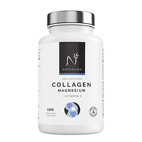 Collagene con magnesio. PEPTAN COLLAGENE ® marino idrolizzato+magnesio+acido ialuronico+vitamina C. Potente integratore per il mantenimento di articolazioni, cartilagine, ossa e pelle. 100 capsule