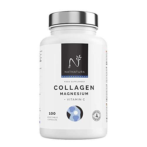 Colágeno con magnesio. Colágeno PEPTAN ® marino hidrolizado+magnesio+Ácido hialurónico+vitamina C. Potente suplemento para mantenimiento de articulaciones, cartílagos, huesos y piel. 100 cápsulas