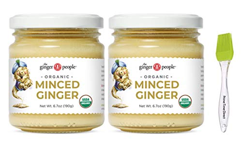 Ginger People Organic Minced Ginger 6.7oz (Pack of 2) with Prime Time Direct Silicone Basting Brush in a PTD Sealed Bag