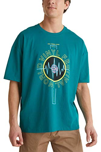 edc by Esprit Herren 050CC2K302 T-Shirt, 385/BOTTLE Green, M