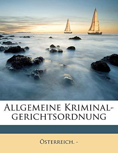 Allgemeine Kriminal-gerichtsordnung