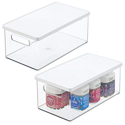 mDesign Juego de 2 organizadores de maquillaje – Práctica caja de plástico con tapa para guardar cosméticos – Organizador de baño apilable para ordenar los productos de belleza – transparente/blanco