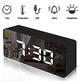 Lambony Reloj Despertador con Espejo Digital con Pantalla LED de Temperatura, Tiempo de repetición, Brillo Ajustable, USB y Funciona con Pilas para Dormitorio, Oficina, Negro(Nueva versión)