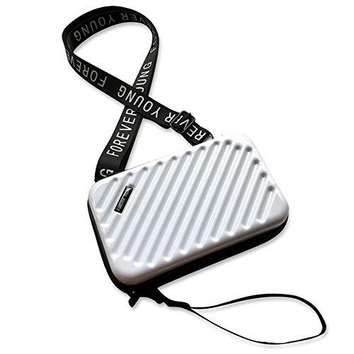 MAGIMODAC Womens Crossbody Shoulder Bag Mini Handbag Phone Bags Hard Mini Cosmetic Case Cell Phone Travel Suitcase Purse Lightweight (Slant-White)