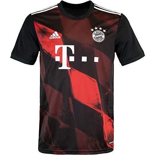 Adidas Bayern München - Maglietta a maniche corte, taglia XL, colore: Nero/Rosso