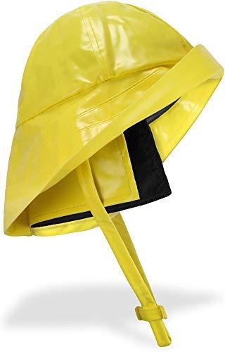 normani Regenhut Südwester mit Kinnband, breiter Krempe und Innenfutter Farbe Gelb Größe L