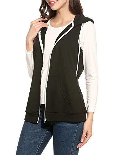 Parabler Damen Weste Ärmellos Jacke mit Kapuze Taschen Reverskragen Freizeit Sport Hoodie Schwarz Schwarz EU 40(Herstellergröße:L)
