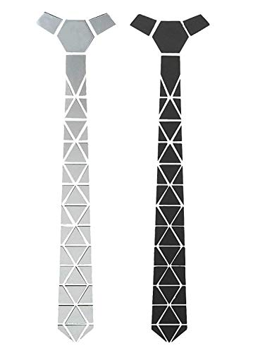 Krystle Men's Glass Triangles Reversible Matte Black and Shining Silver Mirror Tie (Free Size)