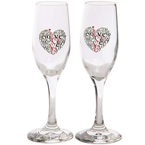 Spruchreif PREMIUM QUALITÄT 100% EMOTIONAL Juego de 2 Copas de champán con Frase I Love You, con Caja de Regalo, diseño de corazón y Texto I Love You