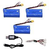rpbll Batería de Iones de Litio de 7.4V 2200mAh actualizada con Cargador para Huina 580550 583582 Accesorios de Drones RC 18650 Batería de 7.4V-3B USB C