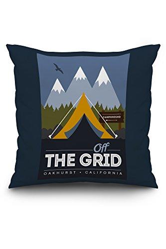 Oakhurst, California - Off the Grid (20x20 Spun Polyester Pillow Case, Custom Border)