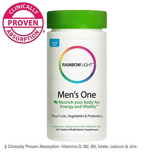 Rainbow Light Men's One Multivitamin for Men, with Vitamin C, Vitamin D, & Zinc for Immune Support, Clinically Proven Absorption of 6 Key Nutrients, Non-GMO, Vegetarian & Gluten Free, 150 Tablets 3