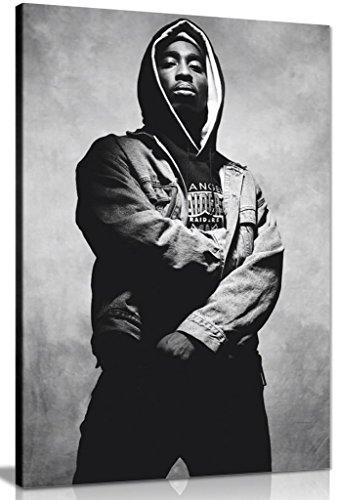 Portrait Tupac Shakur, Leinwandbild, Wandkunst, Bilddruck, Schwerer Leinwand, gerahmt auf massivem Kiefernrahmen., A0 91x61cm (36x24in)