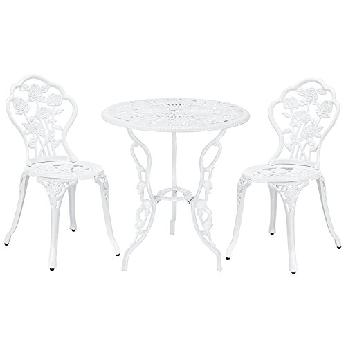Patio Premier 217004 3pc Outdoor Rose Garden Bistro Set, Cast Iron and Aluminum Frame, White