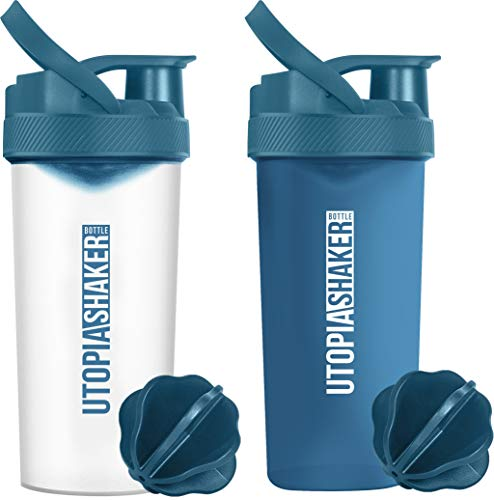 Utopia Home 2-Pack 28-Ounce Fitness Sports Classic Protein Mixer Shaker Bottle-BPA Free & Leakproof (All Navy & Clear/Navy)