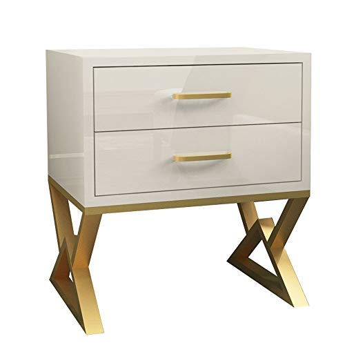 Review Limaomao Bedside Table Cabinet Modern Nightstand Bedside Table End Table with 2 Drawer for Be...