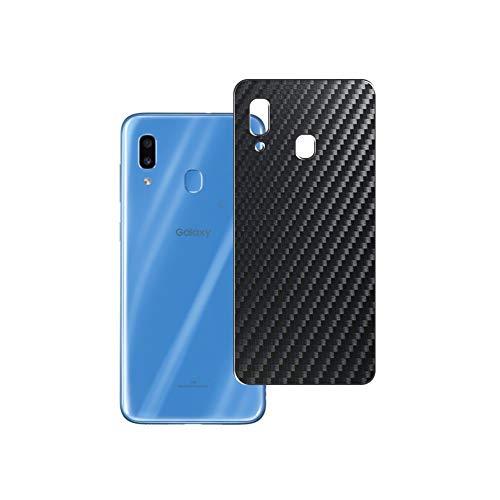 Vaxson 2 Unidades Protector de pantalla Posterior, compatible con Samsung Galaxy A30 SCV43, Película Protectora Espalda Skin Cover - Fibra de Carbono Negro