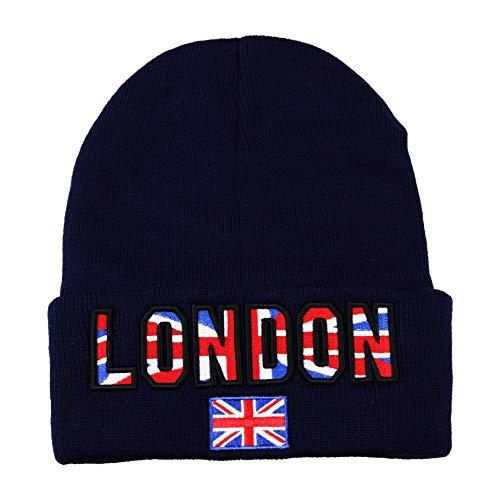 [Vendeur Britannique] Unisexe Drapeau Britannique en Tricot de Ski Bonnet Design Anglais Go Ski Tête de Mort Chapeau Britannique Neuf en Tricot Drapeau de l'Union Motif