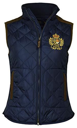 Polo Ralph Lauren Damen Lederweste mit gestepptem Wappen - Blau - Medium