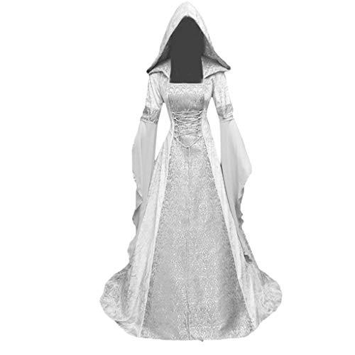 VEMOW Karneval Cosplay Party Ballkleid Damen Mode Langarm Mit Kapuze Mittelalterliches Kleid Bodenlangen Cosplay Kleid(Weiß, 46 DE / 5XL CN)