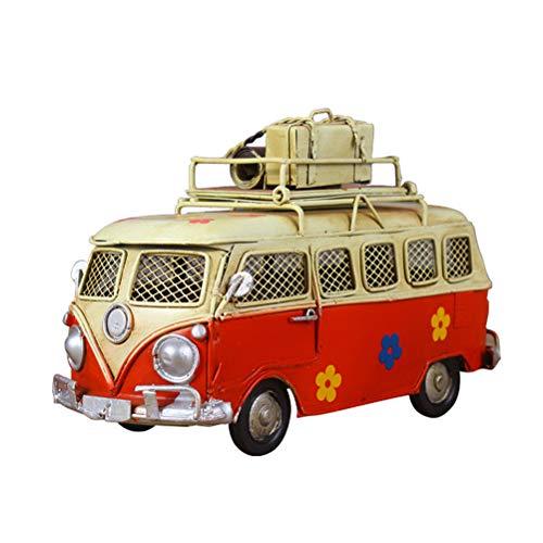 VOSAREA Eisen Sparschwein Vintage Zinn Bus Kindheit Speicher Metall Kunst Geschenk Home Decoration (rot)
