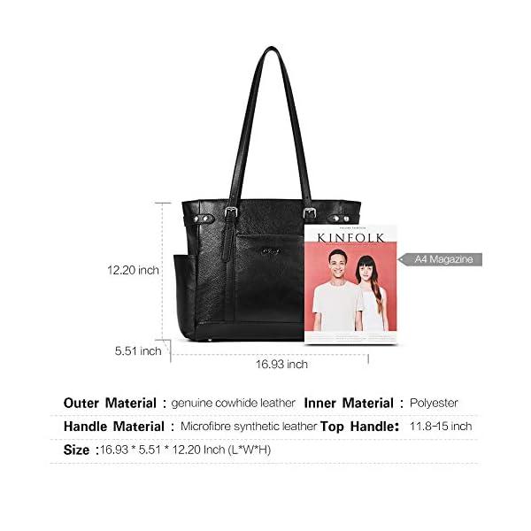 Laptop Totes for Women Genuine Leather Briefcase Large Ladies Shoulder Bag Work Handbags 15.6 Inch 3