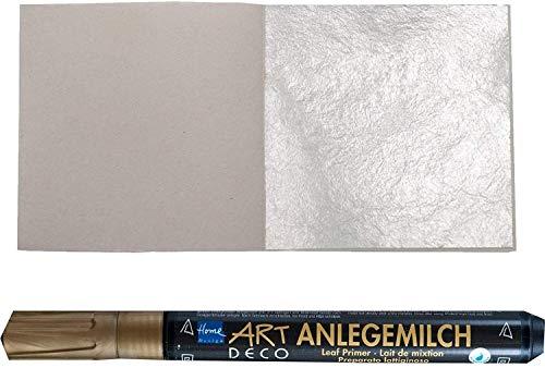 10 Blatt Echtes Blattsilber 5 cm x 5 cm Echt Silber + 1 x Anlegemilch im Stift