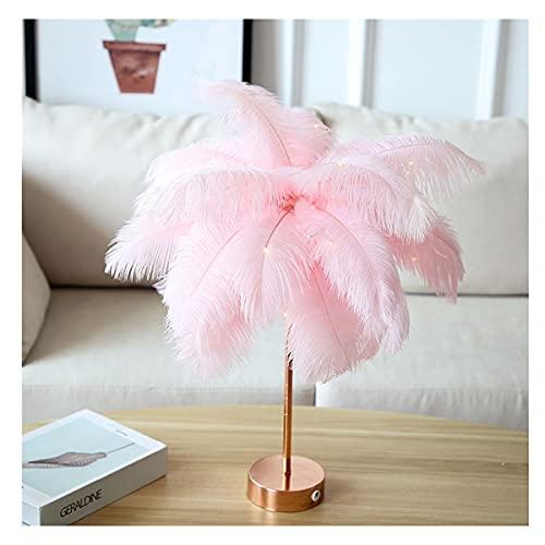 Lámpara de brazo oscilante Lámpara de mesa de plumas, Lámpara de pluma LED Lámpara de noche Mesa de noche Luces de noche Lámpara de mesa remota DIY Creativo Cálido Luz de árbol Pantalla de pluma Luz d