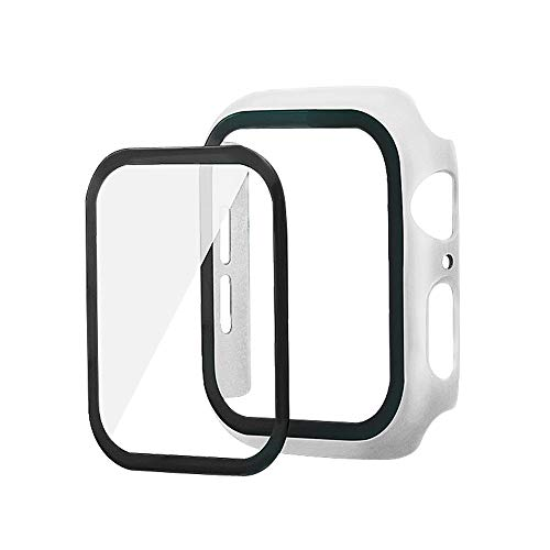 Funda compatible con Apple Watch Series 3/2/1 42 mm funda con protector de pantalla de PET + protector de pantalla de vidrio templado (42 mm), color blanco